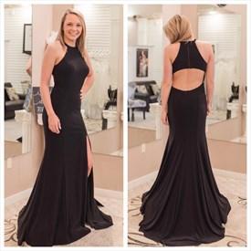 Black High Neck Keyhole Floor Length Sheath Prom Dress With Split