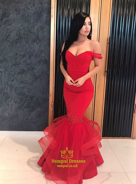 Red Off The Shoulder Applique Mermaid Long Prom Dress With Ruffles