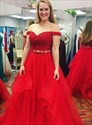 A Line Off The Shoulder Sleeveless Beaded Lace Top Tulle Prom Dress
