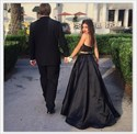 Black Halter Neck Sleeveless Satin Two Piece Prom Dress With Pockets