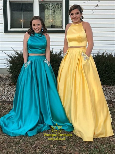 Simple Yellow Sleeveless Beaded Two Piece Prom Dress With Pockets