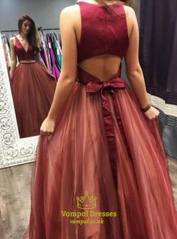 Burgundy A Line V Neck Keyhole Back Tulle Long Two Piece Prom Dress