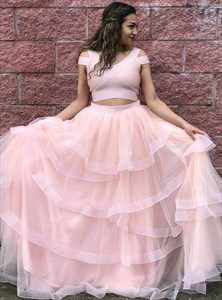 Pink V Neck Cap Sleeve Floor Length Two Piece Tiered Prom Dress