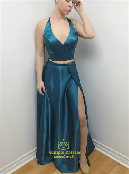 Turquoise V Neck Sleeveless Cross Back Satin Prom Dress With Split