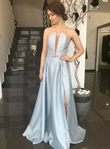 Light Blue Strapless Sleeveless Long Satin Prom Dress With Split