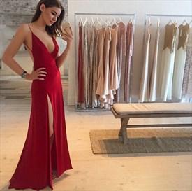 Burgundy V Neck Open Back Sheath Prom Dress With Split On Both Sides