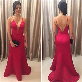 Simple Red Deep V Neck Sleeveless V Back Sheath Satin Prom Dress