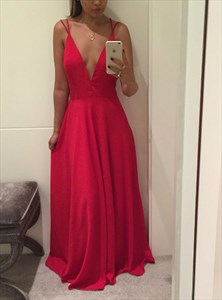A Line Red Deep V Neck Cross Back Floor Length Satin Prom Dress