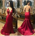 Burgundy V Neck Sleeveless Backless Sheath Long Taffeta Prom Dress