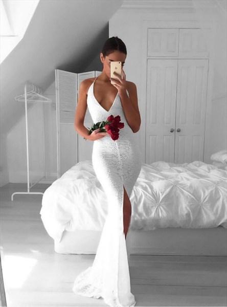 White Halter Neck Open Back Sheath Lace Overlay Prom Dress With Split