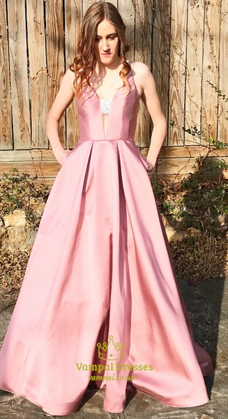 Pink V Neck Sleeveless Satin Prom Dress With Beaded And Pockets