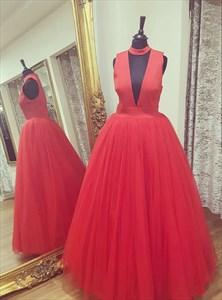 Simple A Line High Neck Sleeveless Floor Length Tulle Prom Dress