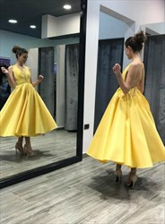 Yellow V Neck Criss Cross Back Pleated Satin Tea Length Prom Dress
