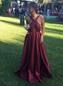 A Line Burgundy Cross Neck Keyhole Floor Length Satin Prom Dress