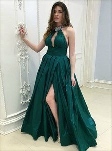 Emerald Green Halter Keyhole Crystal Ruched Prom Dress With Split
