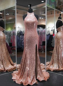 Pink Crystal Halter Keyhole Mermaid Sequin Prom Dress With Split