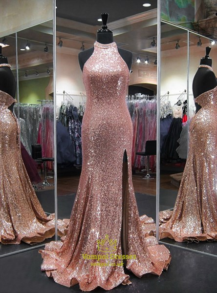 Pink Crystal Halter Keyhole Mermaid Sequin Prom Dress With Split