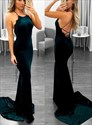 Dark Green Sleeveless Backless Prom Dress With Lace Up And Train