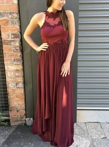 High Neck Keyhole Back Lace Applique Pleated Chiffon Long Prom Dress