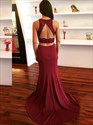 Burgundy Sleeveless Keyhole Beaded Lace Applique Two Piece Prom Dress