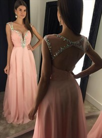 V Neck Cap Sleeve Crystal Ruched Keyhole Back Long Chiffon Prom Dress