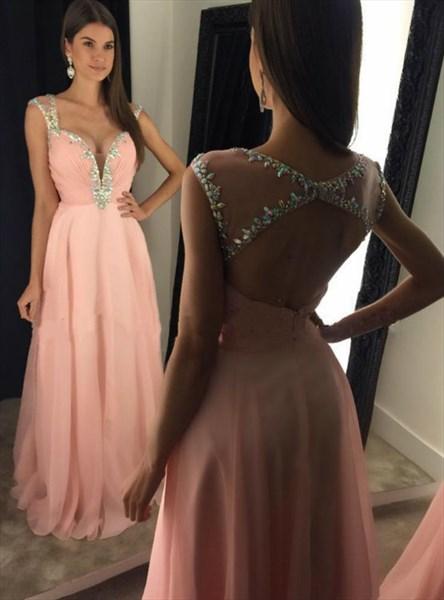 V Neck Cap Sleeve Crystal Ruched Keyhole Back Long Chiffon Prom Dress