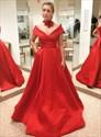 Red V Neck Cap Sleeve Floor Length Satin Prom Dress With Pockets