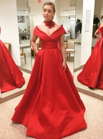 Red V Neck Cap Sleeve Floor Length Satin Prom Dress With Pockets