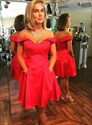 A Line Red Off The Shoulder Satin Short Prom Dress With Pockets