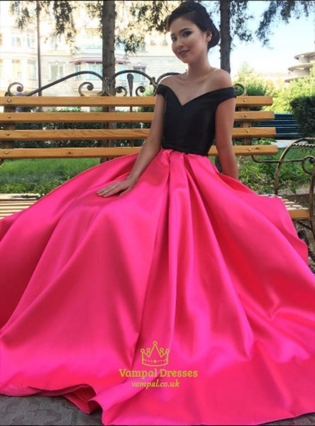 Simple Fuchsia Off The Shoulder Sleeveless Long Satin Prom Dress