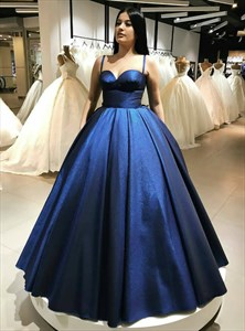Royal Blue Spaghetti Strap Sleeveless Satin Ball Gown Prom Dress