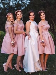 A Line Pink Off The Shoulder Tea Length Satin Bridesmaid Dress