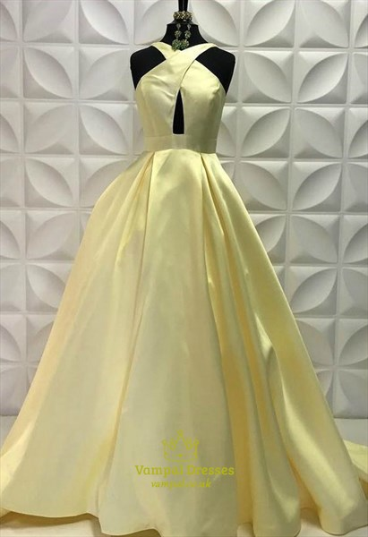 A Line Cross Neck Keyhole Sleeveless Satin Prom Dress With Pockets