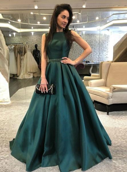 Elegant Emerald Green Bateau Neck Beaded Sleeveless Satin Prom Dress