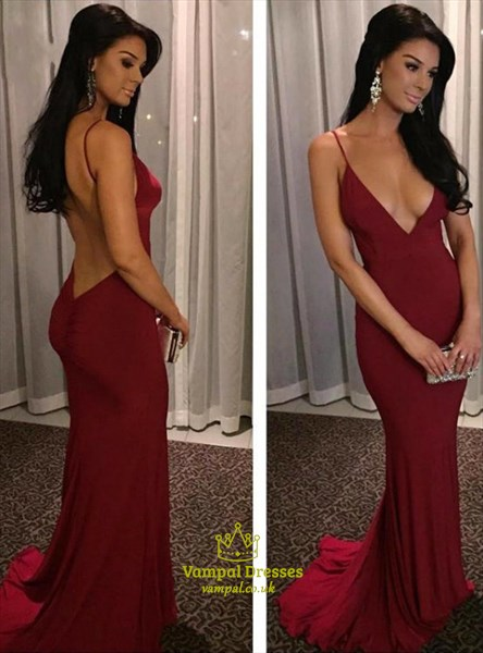 Burgundy Spaghetti Strap Deep V Neck Backless Ruched Back Prom Dress