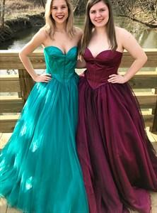 Sparkle Tulle Sweetheart Neckline Sleeveless Long Prom Dresses