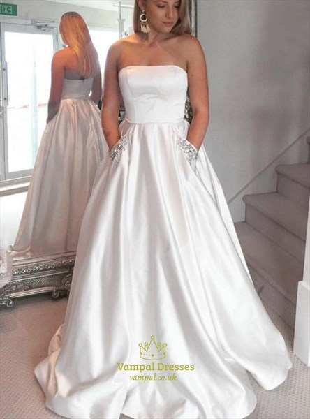 simple a line white strapless beaded satin prom dress with pockets