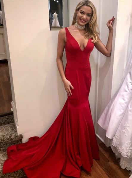 Red V Neck Sleeveless Deep V Back Mermaid Prom Dress With Train