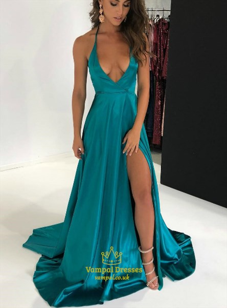 Turquoise Halter Neck Deep V Neck Satin Long Prom Dress With Split