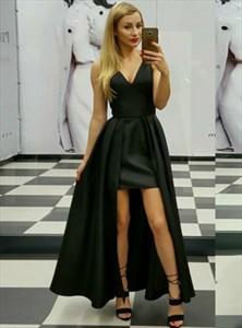 Simple A Line Black V Neck Sleeveless Satin High Low Prom Dress