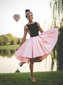 Pink Bateau Neck Deep V Back Pleated Satin Short Homecoming Dress