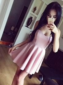 Simple A Line Pink Sweetheart Neckline Sleeveless Satin Short Dress