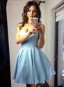 Simple A Line Pink Sweetheart Neckline Sleeveless Satin Short Dress