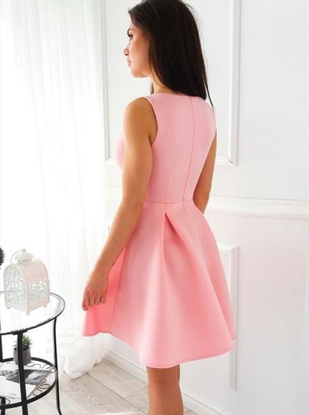 V Neck Sleeveless Keyhole Pleated Satin Knee Length Homecoming Dress