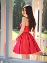 Red Sweetheart Neckline Sleeveless Ruched Satin Short Prom Dress