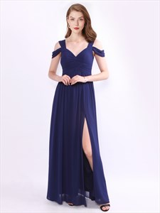 Royal Blue Cap Sleeve Ruched Long Chiffon Prom Dress With Split
