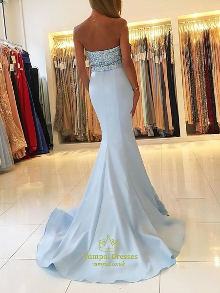 Light Blue Sweetheart Beaded Bodice Mermaid Prom Dress With Train