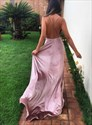 Pink Spaghetti Strap Deep V Neck Cross Back Prom Dress With Split