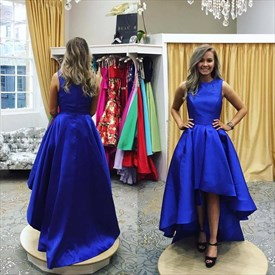 A Line Royal Blue High Neck Sleeveless Satin High Low Prom Dresses