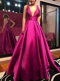 Fuchsia Deep V Neck Sleeveless Satin Prom Dress With Bow In Back